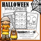 Halloween Math Worksheets Numbers 1 - 10