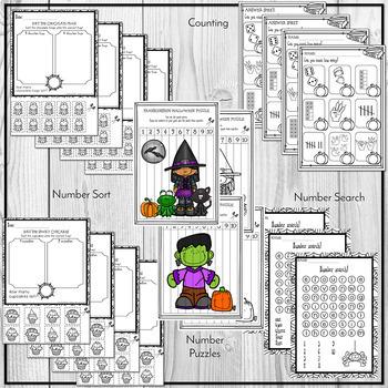 Halloween Math Worksheets Numbers 1 - 10
