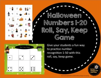 Halloween Numbers 1-50 Roll, Say, Keep Game