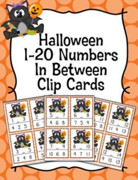 Halloween Bats Numbers In Between Clip Cards