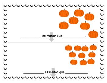 Halloween Numbers - Números - Mayor y menor que