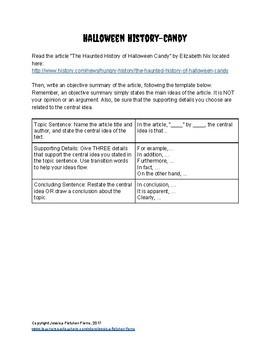 Halloween Objective Summary Activities