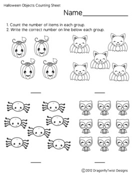 halloween objects counting sheet by j and g design studio tpt