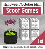 Halloween October 1st Grade {Scoot Game/Task Cards} Math Bundle