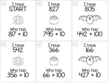 "Halloween October 2nd  Grade ""I Have, Who Has"" Math Game Bundle"