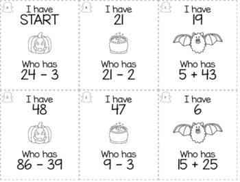 """Halloween October 2nd  Grade """"I Have, Who Has"""" Math Game Bundle"""