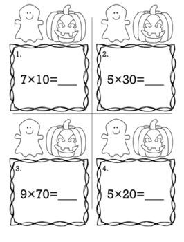 Halloween October 3rd Grade {Scoot Game/Task Cards} Math Bundle