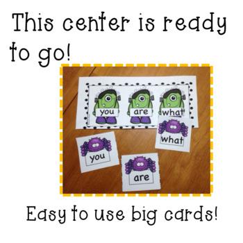 Halloween/October  Kindergarten Sight Word Matching Center