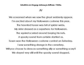Halloween/October /S/ articulation sentences