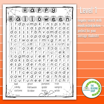 Halloween Word Search Puzzle - 3 Levels Differentiated