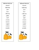 Halloween/October word bank bookmark