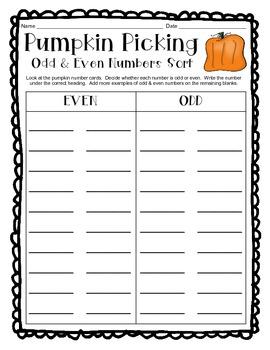 Halloween Odd & Even Sort w/ Recording Sheet