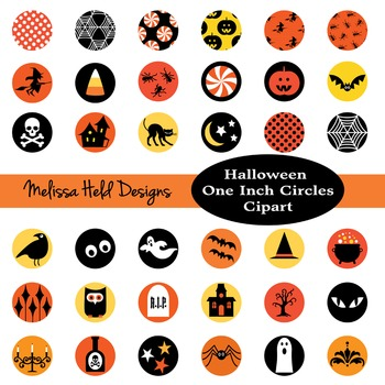 Halloween One Inch Circles Clipart