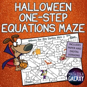 Halloween One Step Equations Maze-Math Activity
