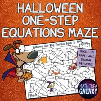 Halloween One Step Equations Maze-Math Activity