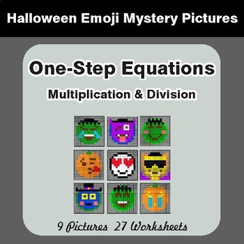 Halloween: One Step Equations: Multiplication & Division - Math Mystery Pictures