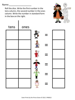 Halloween Ones/Tens Place Value