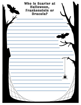 Halloween Opinion Writing: Dracula Vs. Frankenstein