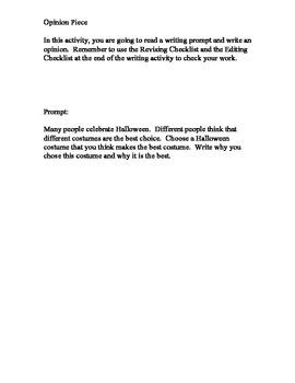 Halloween Opinion Writing Packet
