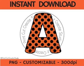 Halloween Orange & Black Digital Alphabet Clipart ~ Commercial Use Allowed!