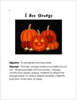 Halloween Orange Reading/Listening Center