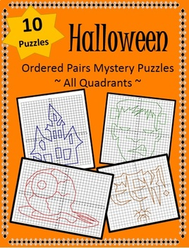 Halloween Order Pairs Mystery Picture Puzzles (All Quadrants)