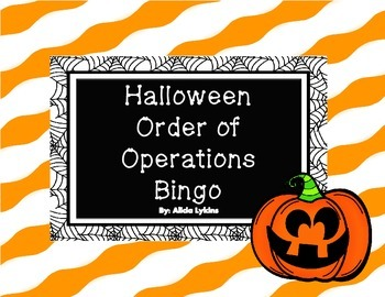 Halloween Order of Operations Bingo