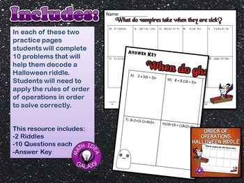 Halloween Order of Operations Riddle Activity