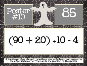 Halloween Order of Operations Scavenger Hunt - Around the Room Math