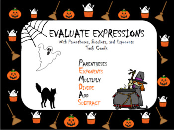 Halloween Order of Operations with Brackets, Parentheses, & Exponents Task Cards