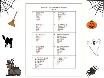 Halloween Evaluate Expressions Task Cards - Brackets, Parentheses, & Exponents