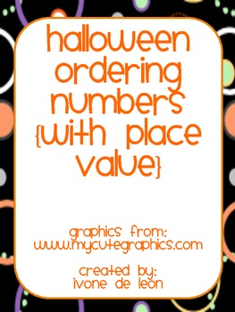 Halloween Ordering Numbers {with place value}: in English & Spanish!!