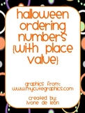 Halloween Ordering Numbers {with place value}: in English