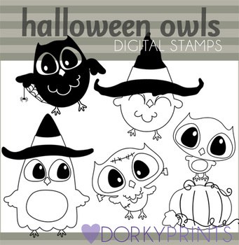 Halloween Owl Black Line Art