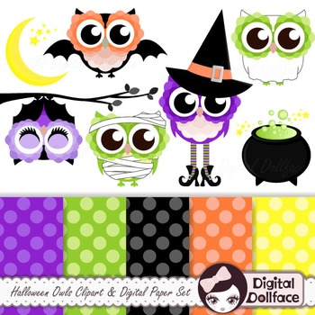 Halloween Owl Clipart and Digital Paper Backgrounds