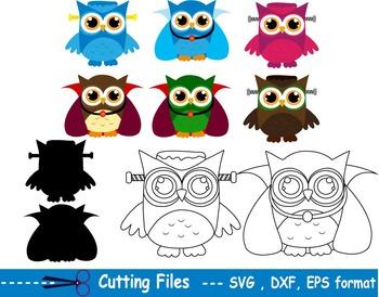 Halloween Owl EPS SVG DXF OUTLINE school teachers cutting cut party -01S-