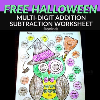 Halloween Owl Math Worksheet FREE by FlapJack Educational Resources
