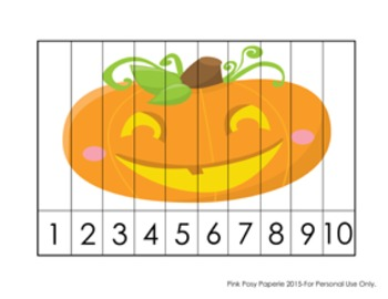 Halloween Number Counting Strip Puzzles - 5 Designs