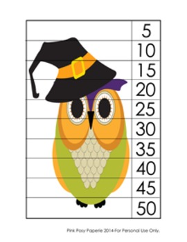 Halloween Owl Number Counting Strip Puzzles - 5 Designs - Skip by 5