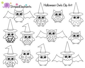 Halloween Owls Clip Art