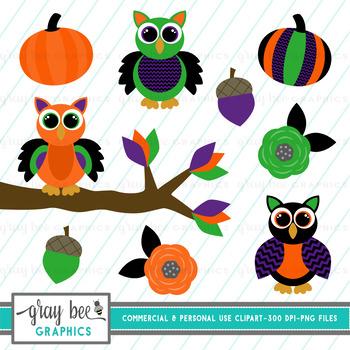 Halloween Owls Clip Art Pack
