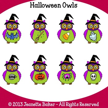 Halloween Owls Clip Art by Jeanette Baker