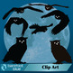 Halloween Owls, Crows, Full and Quarter Moons Clip Art