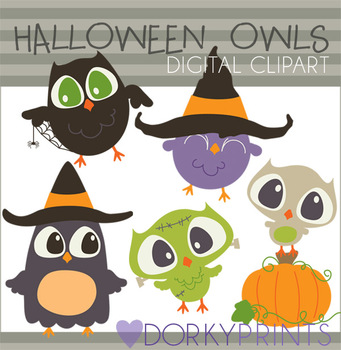 Halloween Owls Digital Clip Art