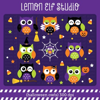 Halloween Owls-Digital Clipart (LES.CL61)