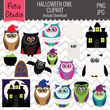 Owls in Costumes Clipart // Halloween Owls Clipart - Fall108