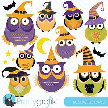 Halloween Owls clipart, commercial use, vector graphics - CL573