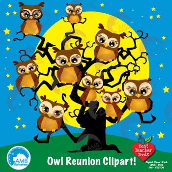 Owl Clipart, Halloween Owls reunion clipart, commercial use, AMB-283