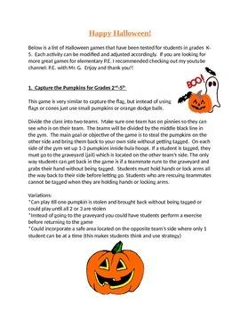 Halloween P.E. Games