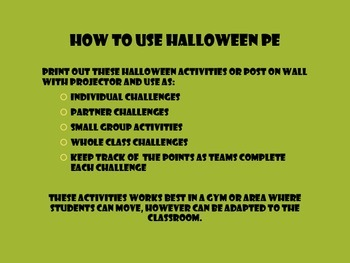 Halloween PE Challenge Cards